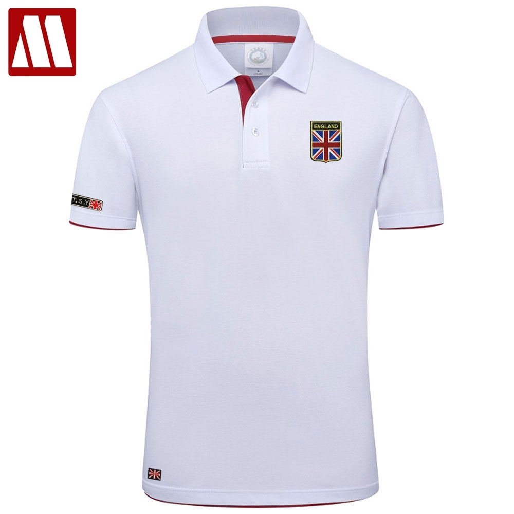 Alta calidad MYDBSH marca de verano Polo de manga corta Hombre de moda Unión bordado de bandera Casual para hombres polos Tops de algodón
