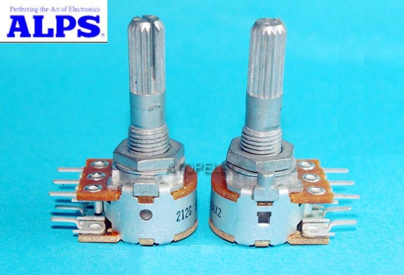 Японские Альпы RK16 50KAX2/100KAX2, громкоговоритель, стерео потенциометр 2 gang Dual 50K/100K, изогнутый вал