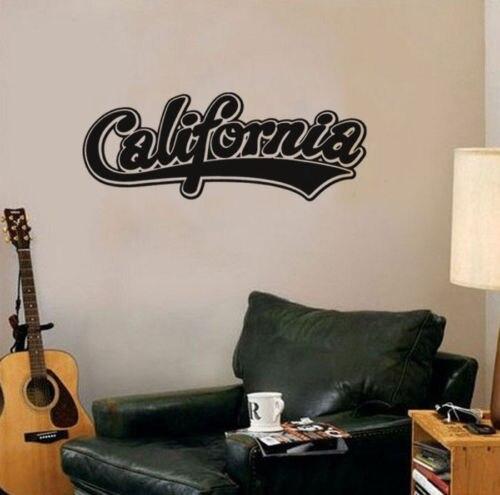 Pegatina de vinilo para pared de California, arte, Mural, letras, calcomanía para el hogar, palabras, decoración para habitación
