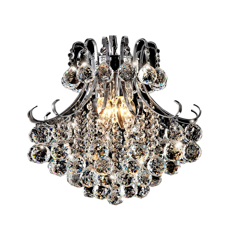 Modern Luxury Crystal Pendant Lights Silver Nordic Light Hanging Lamps for Restaurant Living Room Hotel Home Decoration with E14