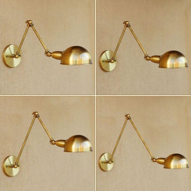 Cobre Retro Loft Lâmpada de Parede Industrial Do Vintage Balanço Ajustável Parede Braço Longo Luz Edison Wandlampen Lampara de Pared