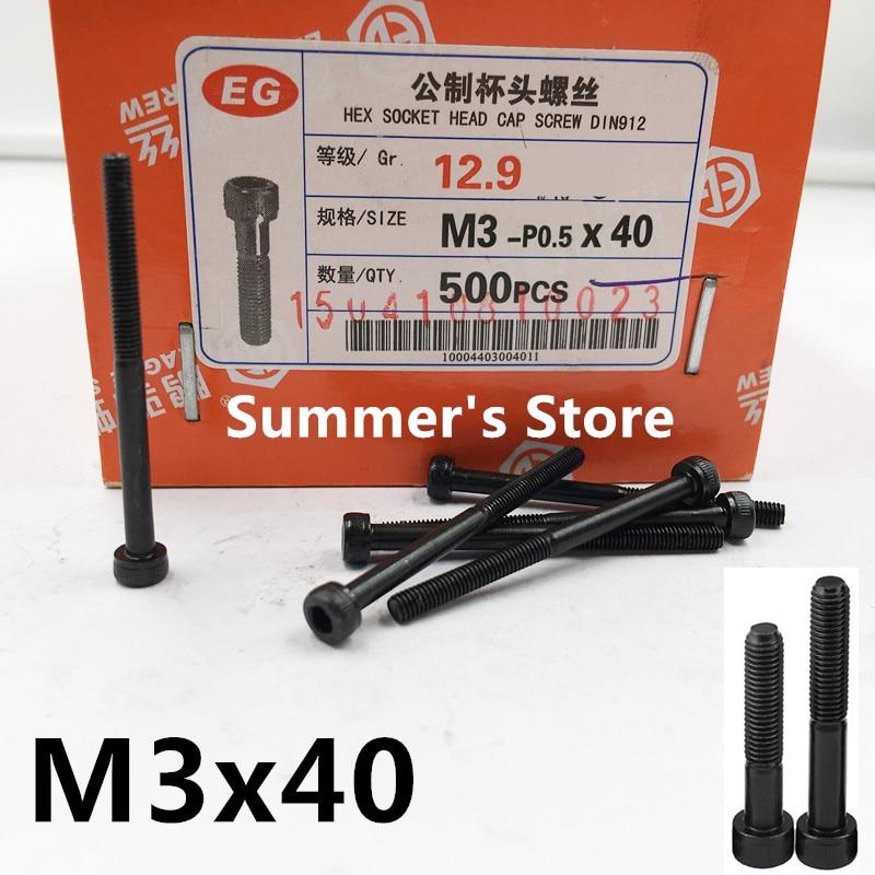 50pcs/lot DIN912 M3*40mm Alloy Steel screw Hex Socket Head Cap Screw M3 screw 40mm black long screw bolt