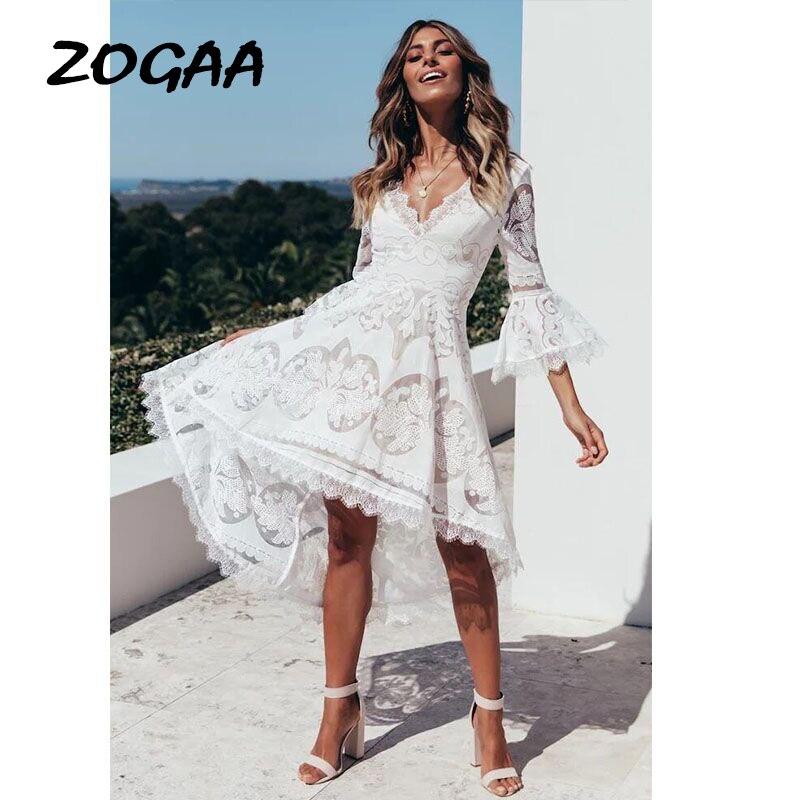 ZOGAA-Vestidos de encaje blanco para mujer, de noche para fiesta, elegantes Vestidos bohemios largos de verano 2019 para mujer, Vestidos boheme elegantes