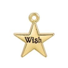 EUEAVAN 30 pièces Pentagramme En Métal Mot Charme ENVIES Lettre Gravé Sur Cinq branches pendentif étoile Pour La Fabrication de Bijoux