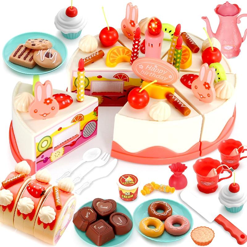 Pastel De cumpleaños con luz y música, vela De Cocina, juguetes De Cocina, Cocina De Juguete para niños