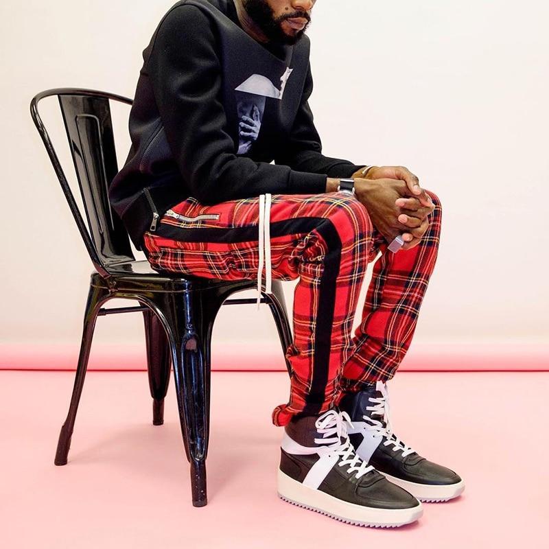 Aolamegs pantalones Harem escoceses a cuadros con cremallera lateral, Pantalones rectos para hombre, Hip Hop Hit Color Block, ropa informal con diseño de varias telas