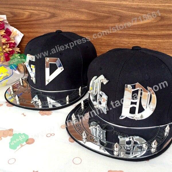 Fashion Trendy Korea Bigbang Hat GD Letter Cap G-dragon Spike Studs Rivet 3D acrylic Flat Cap Hiphop Baseball Caps For men women