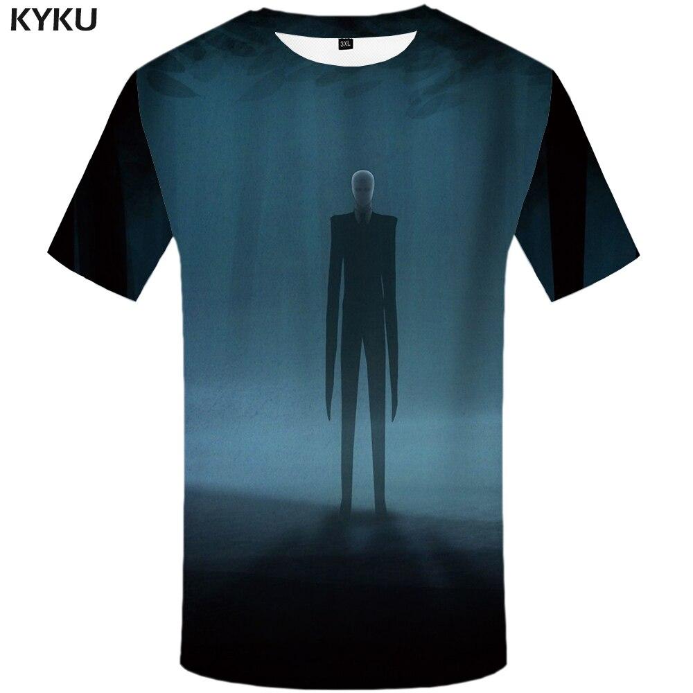 Camiseta de fantasmas de KYKU, camiseta con calavera para hombre, ropa de Anime de bosque, 3d Camiseta con estampado, camiseta con gráfico azul Punk Rock, ropa informal de hombre