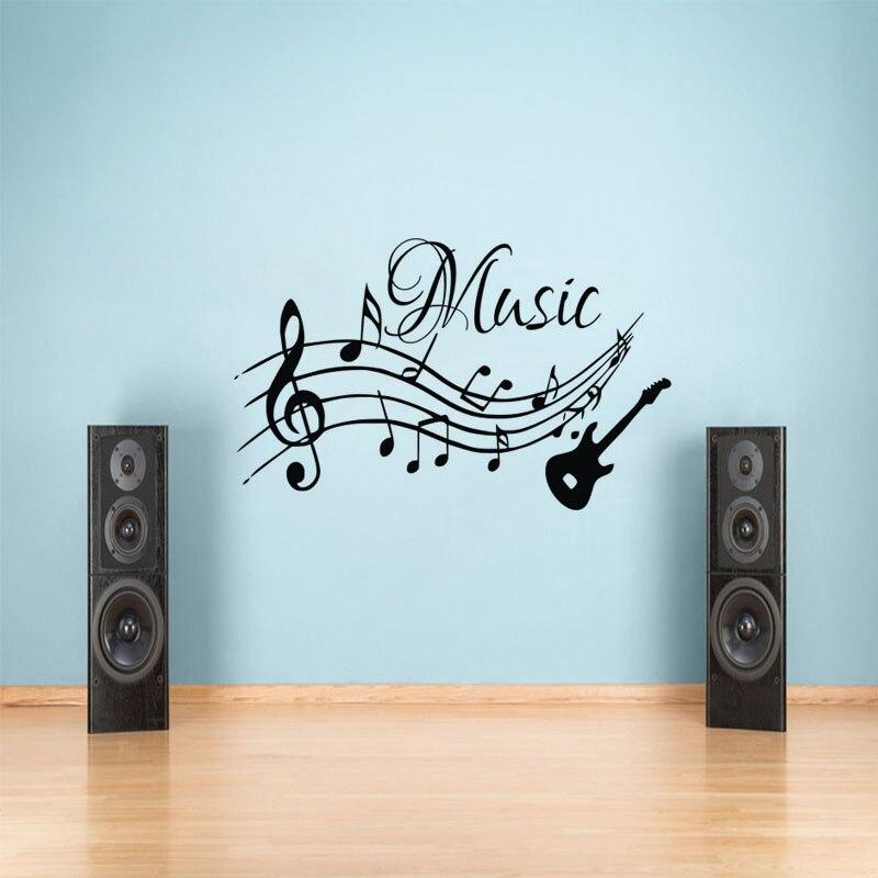 Guitarra notas musicales de la pared pegatinas de etiqueta de vinilo de la Escuela Estudio casa decoración de pared murales adhesivo