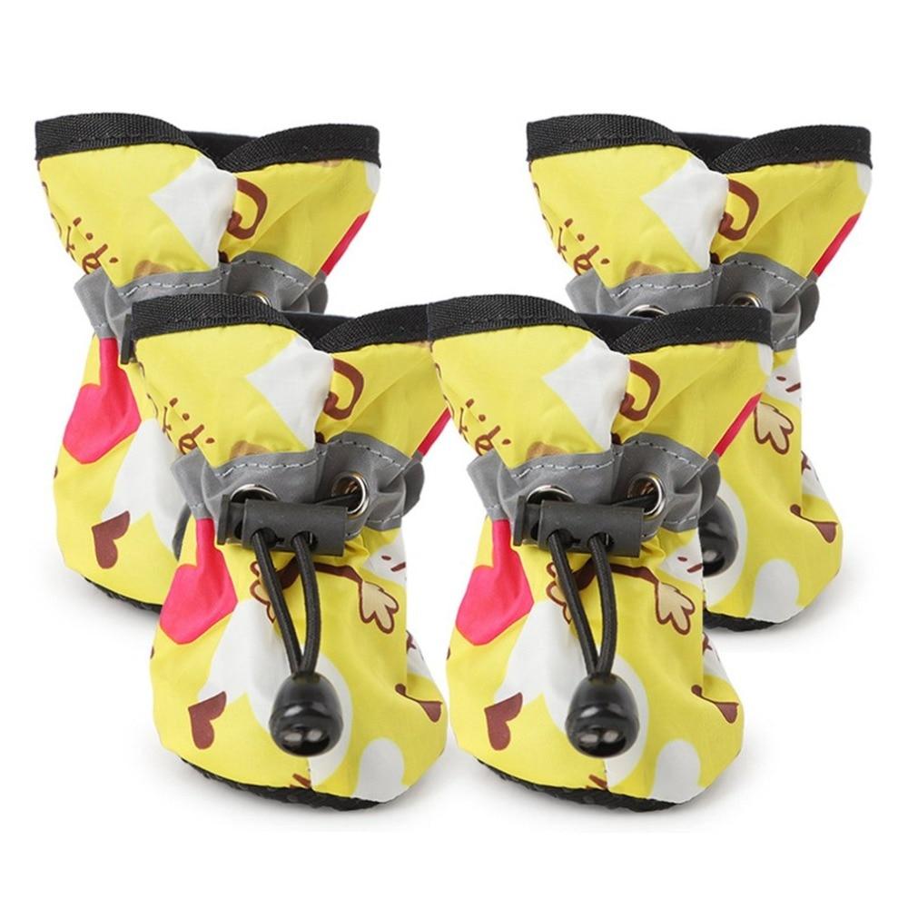 Zapatos para perros antideslizantes, botas de nieve para lluvia, calzado con correa reflectante, zapatos para cachorros y gatitos, zapatos impermeables, suministros para mascotas