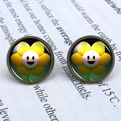 Undertale Flower Game Gaming Earrings Womens ladies 12mm/0.47inch men 1pair/lot New Cartoon drop Jewelry earring 2017 Girl fans