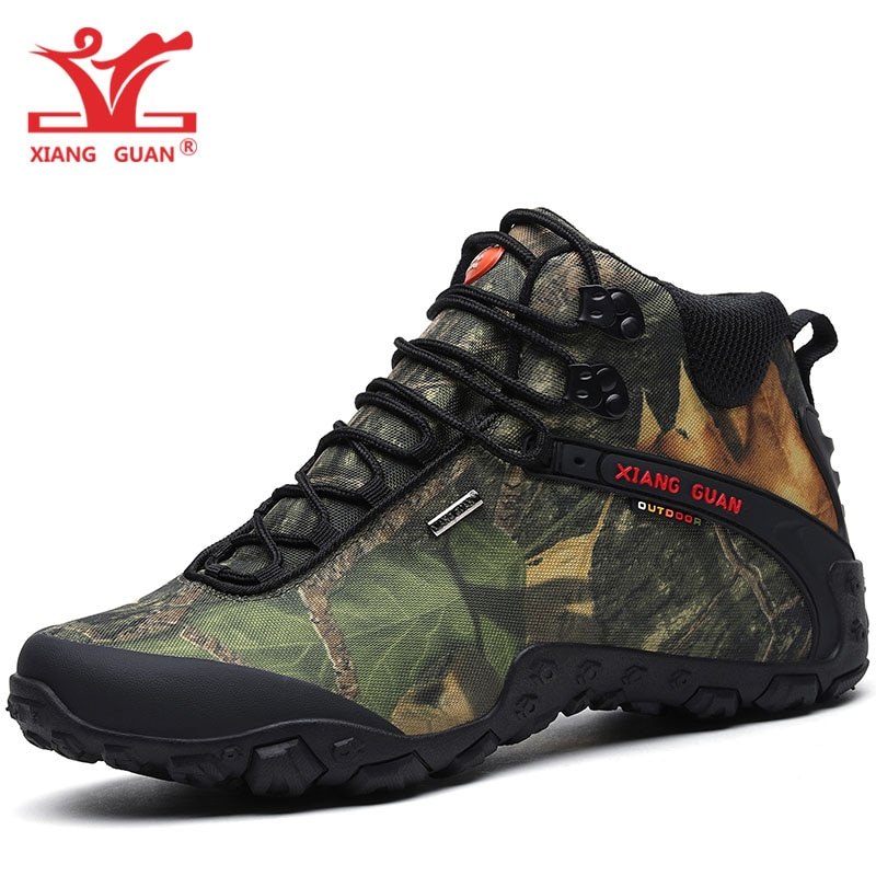 XIANG GUAN, zapatos de senderismo para hombre, botas de Trekking impermeables para mujer, botas altas de camuflaje negro, deportes de escalada, zapatillas para caminar al aire libre, 8