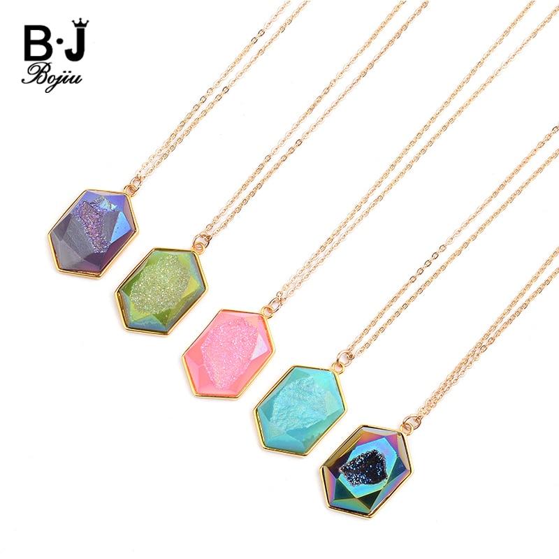 BOJIU, 11 colores, piedra drusa Natural, collares con colgantes largos para mujeres, joyería de declaración redimensionable, cadena de enlace de oro, Neklace NKS215