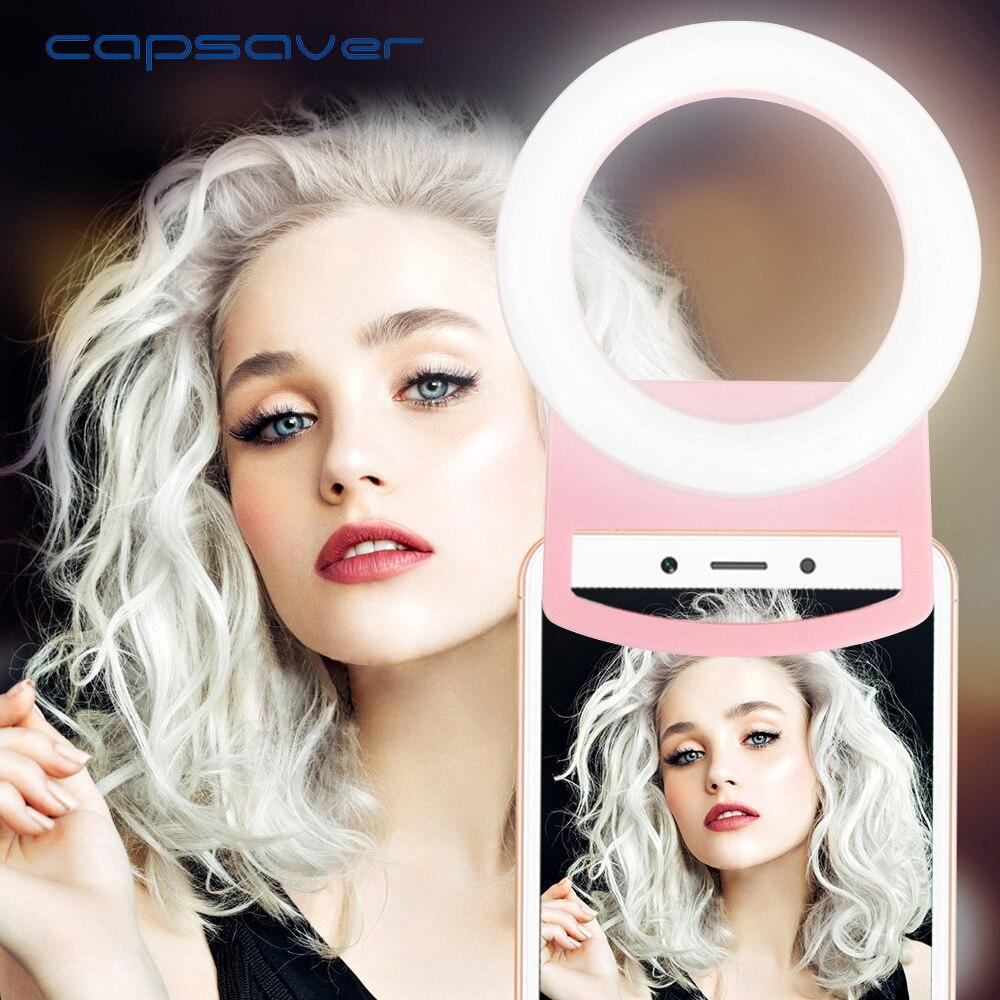 Capsaver USB Charge LED Selfie Ring Light lámpara de teléfono portátil para iPhone Smartphone Xiaomi belleza rellenar lámparas de fotografía