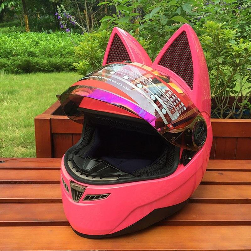 Casco moto rcycle con orejas de gato casco Rosa carrera antifog diseño de personalidad con cuerno capacete moto casco máscara completa
