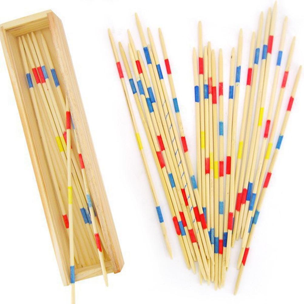 Palillos de recogida con pincel Mikado tradicional de 30 Uds. Con juego de caja, juego multijugador de Spillikin para bebé educativo de madera