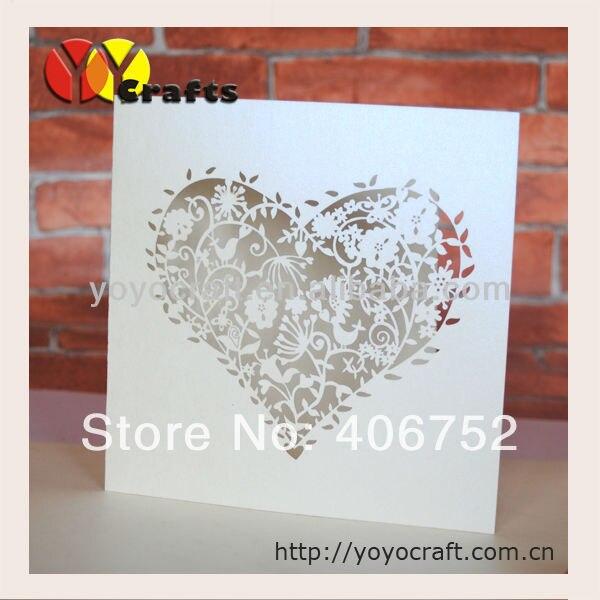 Cartão de convite de aniversário em forma de coração de alta qualidade do papel da pérola do corte do laser 2016