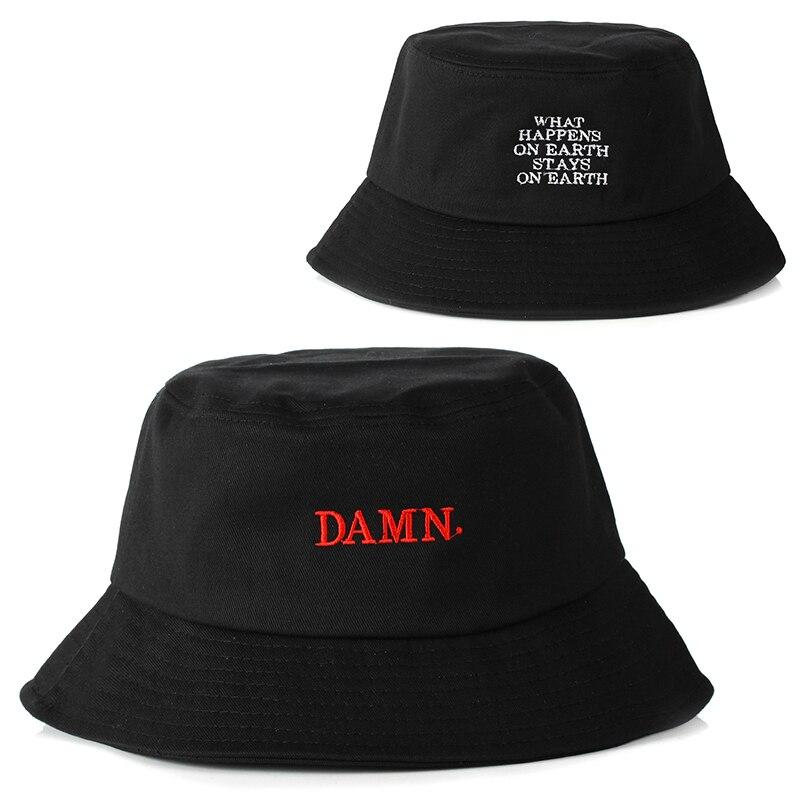 Nuevo negro sombrero de cubo para Mujeres Hombres DAMN bordado sombrero de pescadores moda sombrero de cubo gorras de marca moda barato
