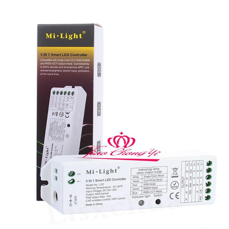 Mi. light LS2 15A DC12-24V Controlador LED 5 en 1 controlador inalámbrico para un solo Color, CCT RGBW RGB + CCT LED tira lihgt