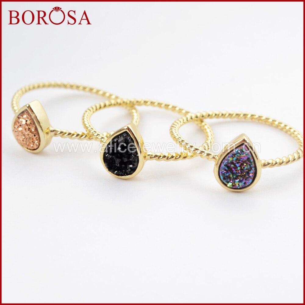 BOROSA 10 قطعة الذهب اللون الدمعة قوس قزح Drusy خواتم ، الطبيعية العقيق التيتانيوم قوس قزح Druzy الحافة حلقة مجوهرات للنساء ZG0288