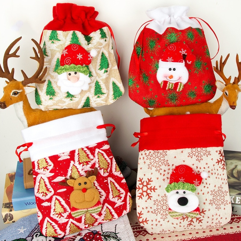 Christmas Gift Candy Holder Drawstring Treat Bags Linen Stockings Bags Xmas Tree Hanging Pendant Ornaments Presentes De Natal
