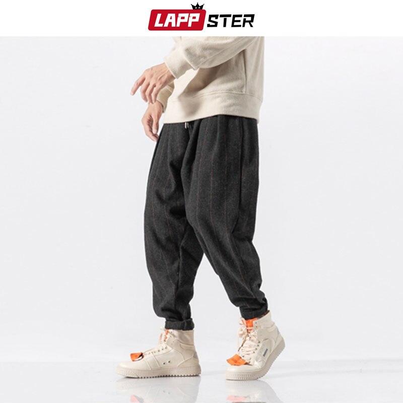 Pantalones bombachos gruesos de ropa informal japonesa de LAPPSTER 2020, pantalones de chándal a cuadros de lana y Hip Hop para hombre, pantalones informales de invierno para hombre