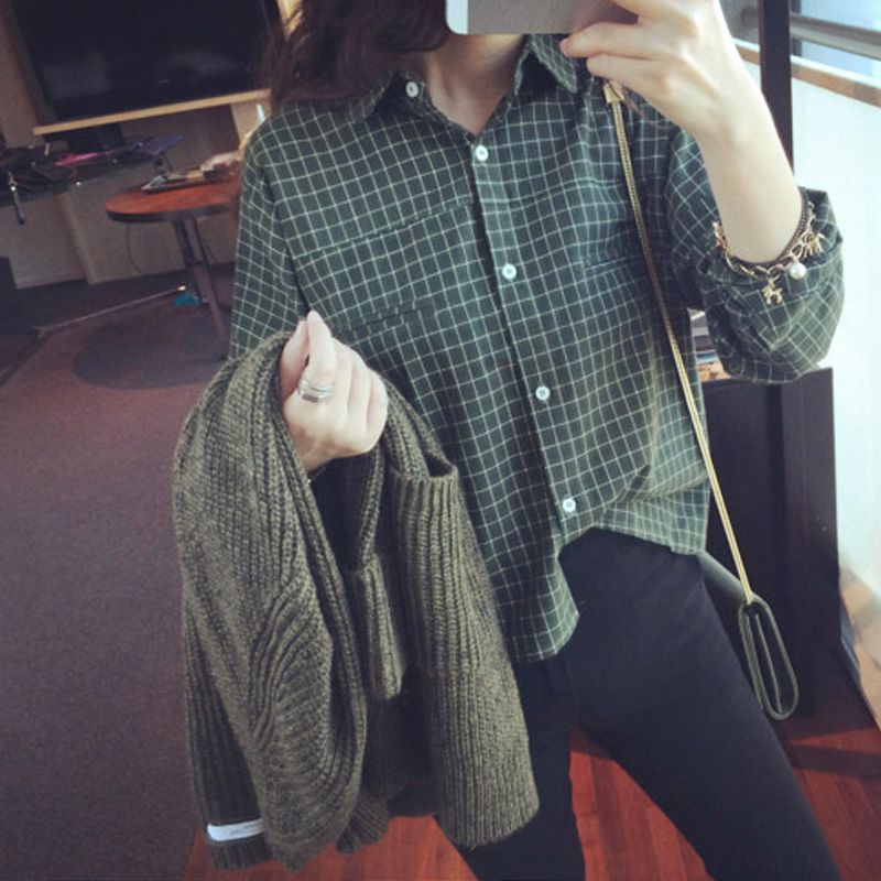 Women Blouses Plaid Print Long Sleeve V-Neck Women Shirts Blouses