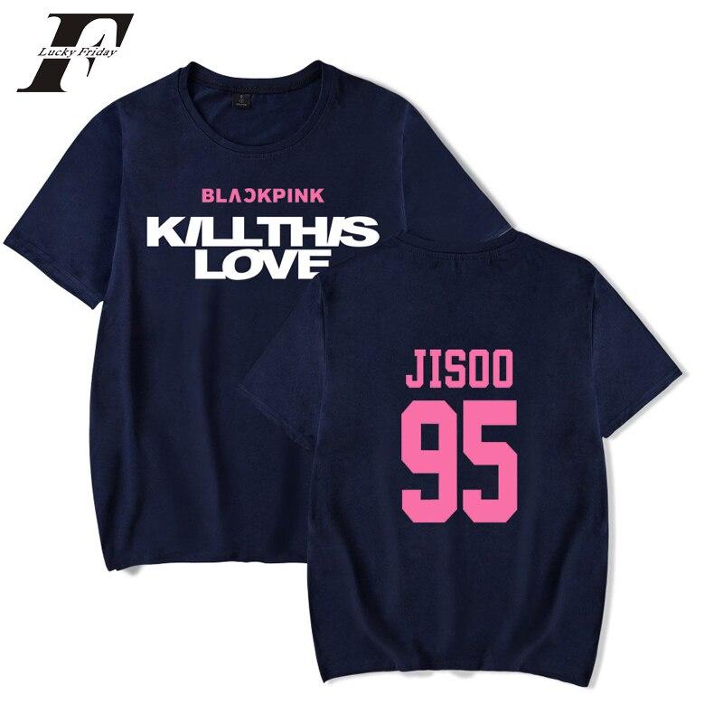 Женская и мужская футболка с принтом Kpop BLACKPINK return Main song KILL THIS LOVE, Лидер продаж, футболки с короткими рукавами