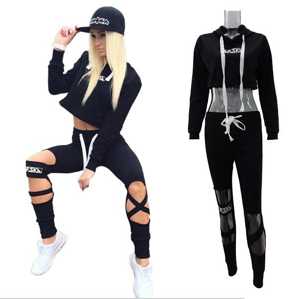 Conjunto de dos piezas de las mujeres Trucksuit carta sudaderas con capucha de las mujeres sudaderas con capucha Top + Pantalones ropa deportiva Top ropa mujer deportivos trajes