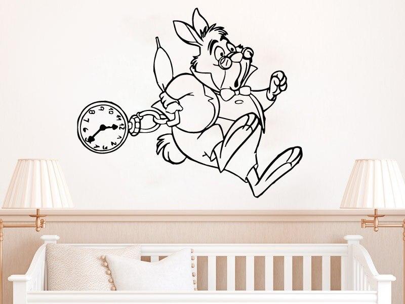 Nueva llegada Alicia en el país de las Maravillas divertido conejo blanco vinilo pared Mura pared pegatina para el hogar guardería dormitorio dulce decoración papel tapiz