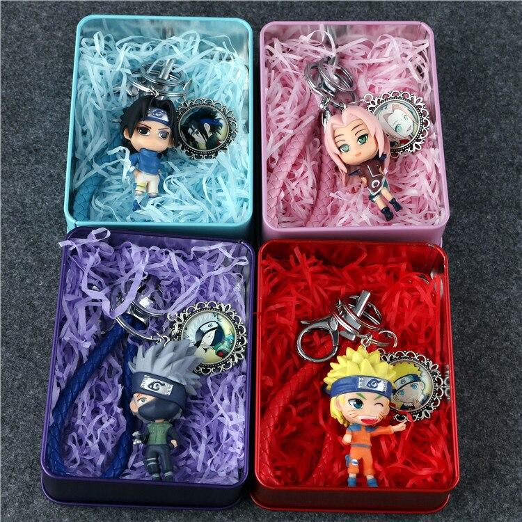 Anime Naruto Sakura llavero de Sasuke figura juguetes de modelos de colección juguetes de llavero con caja de Metal