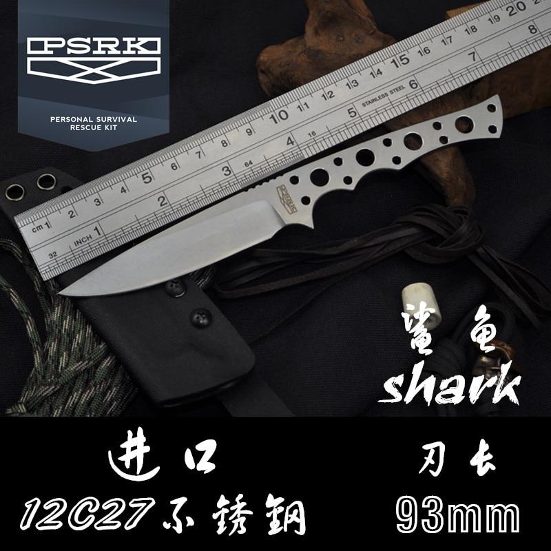 PSRK SHARK 59HRC 12C27 hoja fija cuchillo de supervivencia al aire libre camping herramienta de caza cuchillo táctico herramienta EDC herramienta sin cuchillo plegable