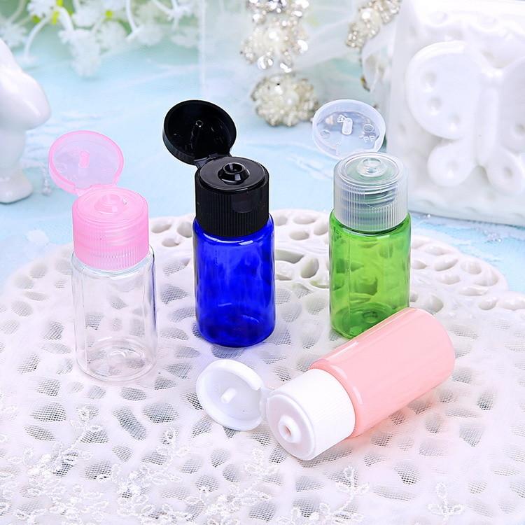 10 ml Plastic Bottle with White Black Flip Lid for Essential Oil Toner Frgrance Amber Green Blue Pink Blue Clear 50pcs/lot P082