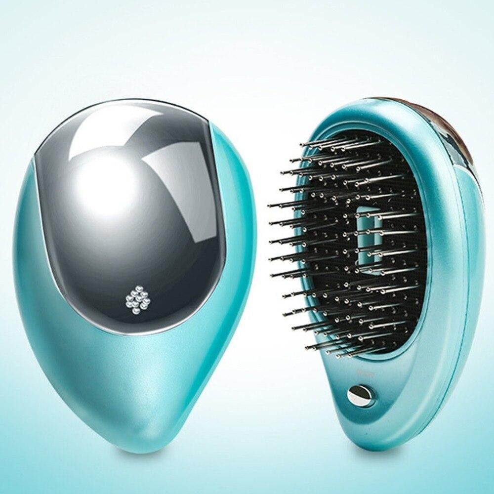 Cepillo de pelo iónico eléctrico portátil Anti pérdida de cabello peine magnético de masaje peine de crecimiento de cabello cepillo de pelo Mini peine de pelo recto