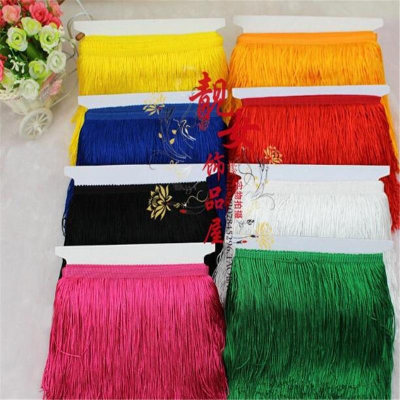15cm 20cm 30cm ancho poliéster denso ribete de franja de borlas cortina de encaje Latino etapa faldas de baile prendas accesorios AG12-3