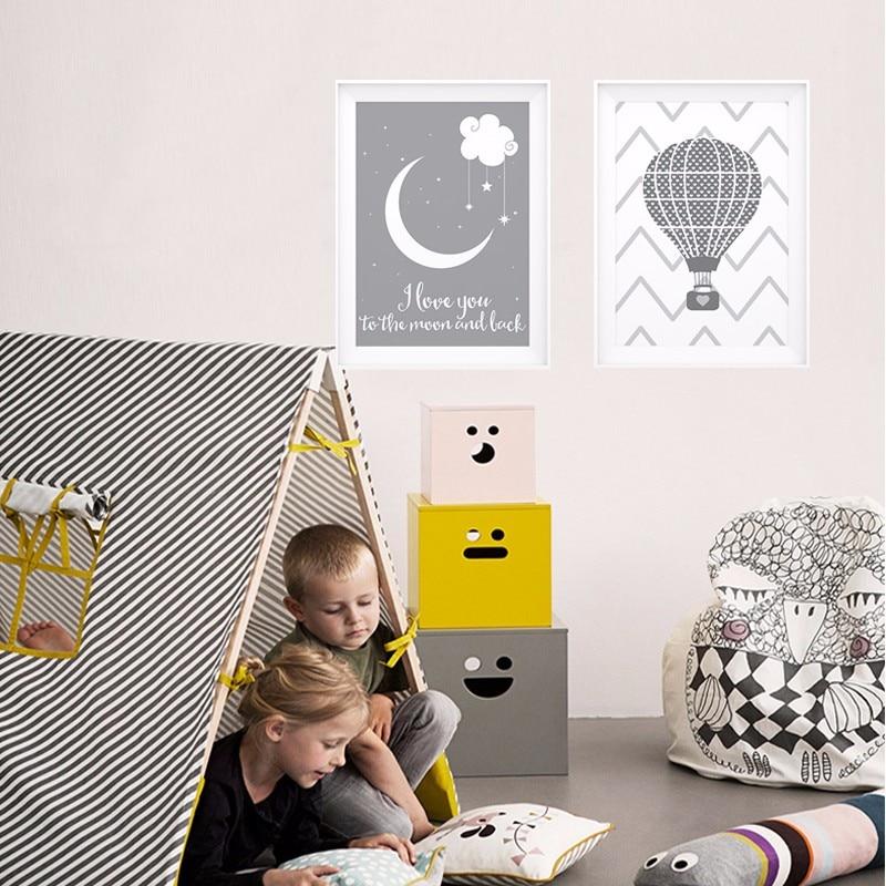 LZN te amo a la Luna y vuelta Balloom cartel, arte de la lona de foto arte de pared pinturas Quadro vivero decoración de la habitación de los niños