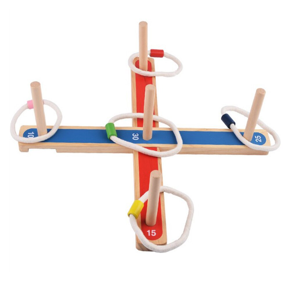 Ring Toss Throw Game Wooden Platform Elastic Ring Throwing Game for Children and Adults