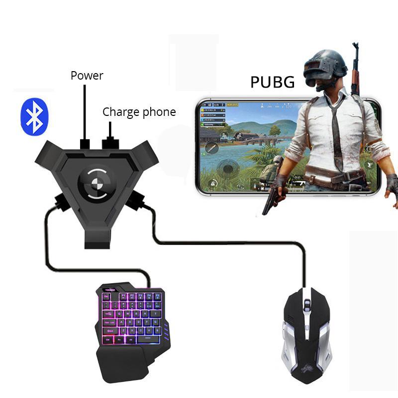 Yiwa PUBG mando de juegos móvil controlador teclado de juegos conversor de ratón para Android Teléfono a ordenador adaptador Bluetooth