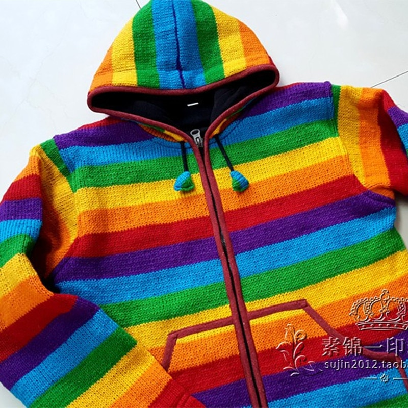 Free Shipping 2019 Rainbow Straight 100% Wool Women Plus Size S-XL Thick Warm Fleece Hand Made Hooded Sweaters With Pockets enlarge