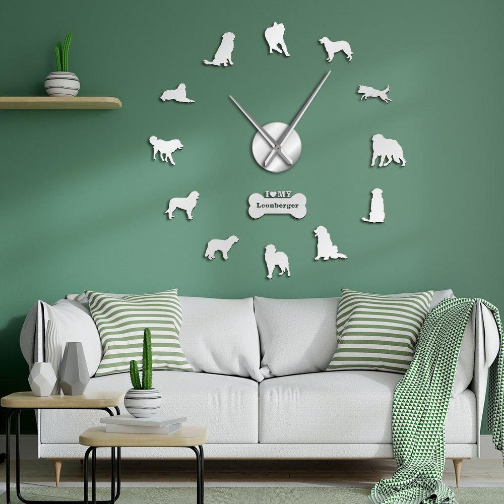 Reloj de pared Leonberger para perros, DIY, silencioso, gigante, para cachorros, posturas, sin marco, reloj grande para mascotas, veterinario, tienda de perros, reloj decorativo de pared silencioso