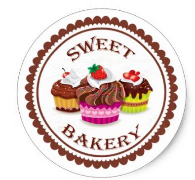 1.5inch Cupcake bakery classic round stickr 1
