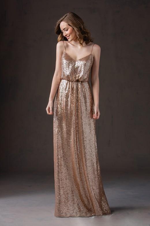 Spaghetti Straps Floor Length Maid of Honor Coffee Sequins Bridesmaid Dress 1