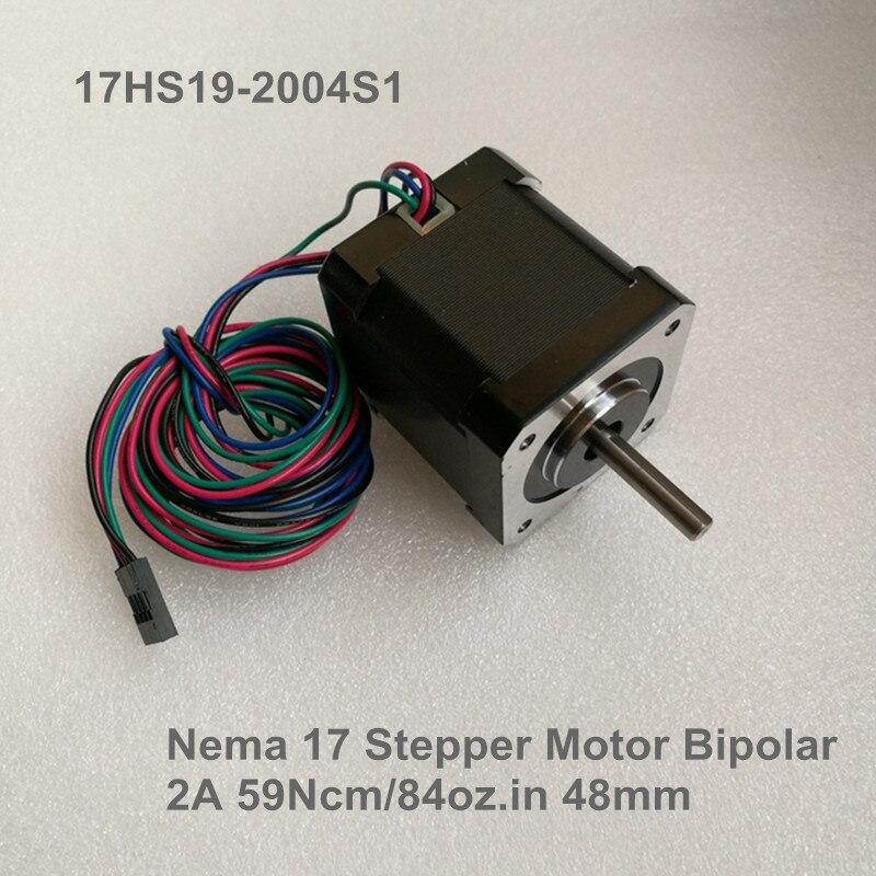 محرك متدرج Nema17 1.8 درجة ، 17HS19-2004S1 ، 4-Lead /2A/2.8V/59Ncm/84oz.in CNC ، مطحنة القطع ، حفارة/DIY ، طباعة ثلاثية الأبعاد