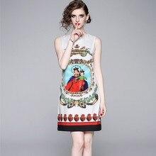 2019 nouvelle piste dété femmes sans manches de haute qualité robe magnifique fleur caractère imprimer Vintage élégant robes Vestidos