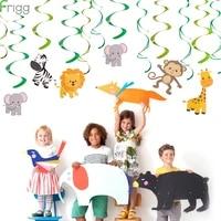 frigg 30pcs baby shower wild animals swirls banner birthday party decorations kids jungle animal bunting ceiling hanging swirl