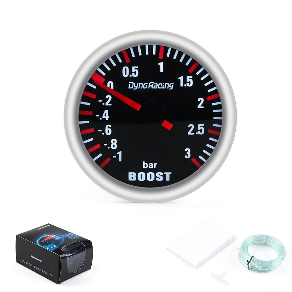 Dynoracing 2''52MM Turbo Boost Gauge 3 BAR mecánica blanco Led Boost Gauge humo lente impulso de BX101537