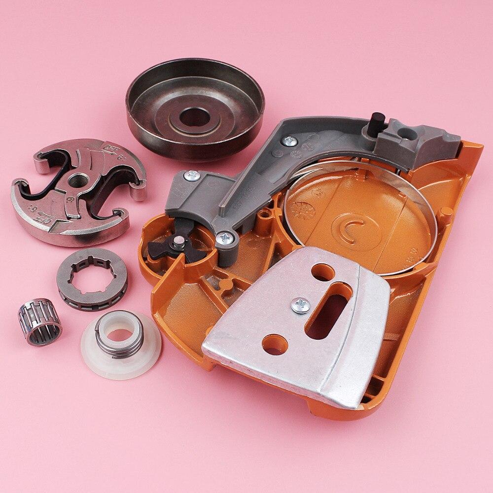 Kit de engranaje de tornillo sin fin de tambor de cubierta lateral de piñón de embrague de cadena para Husqvarna 340 345 350 pieza de herramienta de repuesto de motosierra