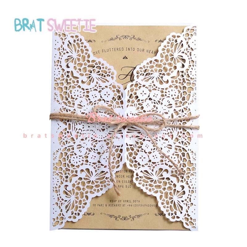 Fita Laser Cut Convites de casamento Cartões com Envelopes Kraft Convites Do Chuveiro de Bebê Do Partido Fontes Do Partido de Aniversário de Casamento