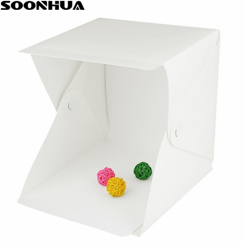 SOONHUA Portable Folding Lightbox Photography Studio Softbox LED Light Soft Box Tent Kit for Phone DSLR Camera Photo Background enlarge