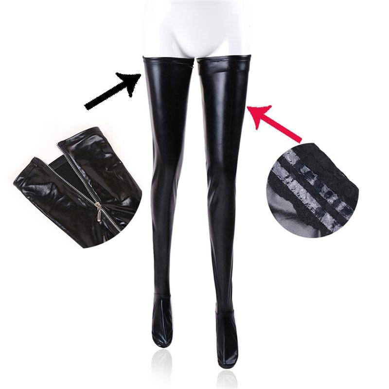 Женские латексные колготки на молнии, черные, из ПВХ, для танцев на шесте, кожаные, эротические, Клубные